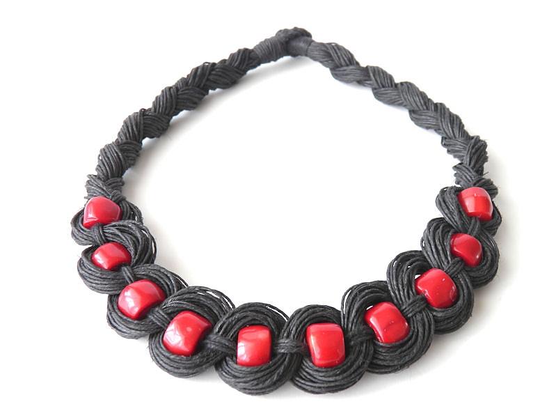 a65393beb6a Biżuteria ręcznie robiona - rękodzieło biżuteria z lnu i korala ...